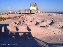 Kids playing on the dunes next to the Pink Pony Pub