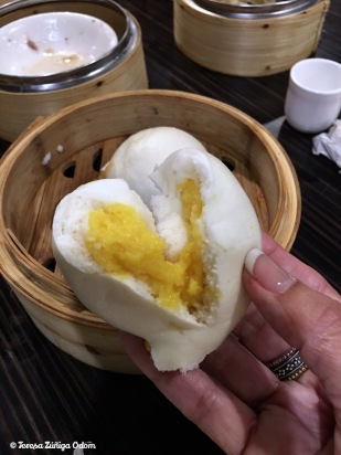 Inside of the steam egg custard bun