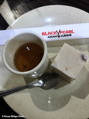 Coconut red bean jelly pudding with jasmine tea for dessert - I can't believe we had room for this at the end!