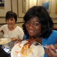 Cassandra and I get ready to try the chicken feet!