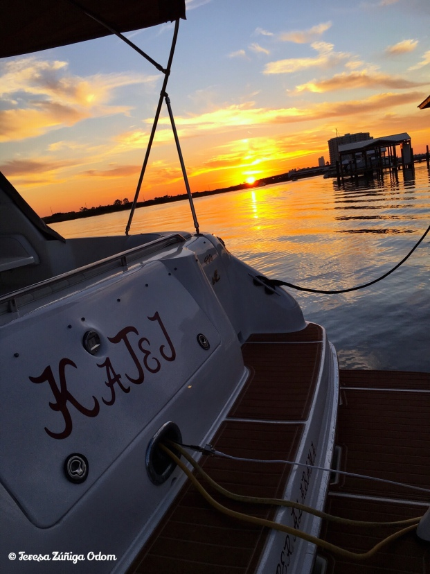 Sunset from my brother-in-law's boat on Ono Island
