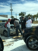 Helping Jason get his car going!