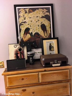 Storage! This chest of drawers came from the thrift store. My husband stripped it and I liked it in its natural form. My Crossley record player is on top. The phone lamp was made by my grandfather. I still need to find a lampshade fo it!