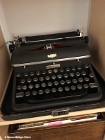 My dad's Royal manual typewriter. It came from Sparks Office Supply in Carlsbad, New Mexico!