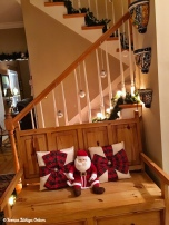 Entry way - silver ornaments with blingy ribbon