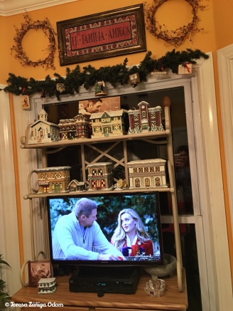 It's a Wonderful Life village on my kitchen bakers rack - watching Hallmark movies while decorating is a must!