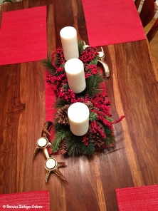Simple kitchen table centerpiece. I found this at the thrift store in January this year. I also found the antler votive candle holders at the thrift too (still had the original tags on them!)