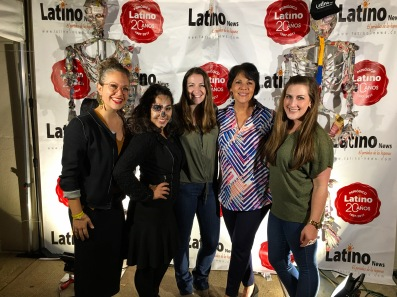Fun with friends! - Amy Miller, Vanessa Vargas, Julia Sayers, me and Audrey Panell at the Latino News booth