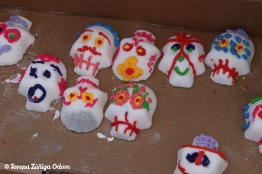 Real sugar skulls made to be placed at altars around the event