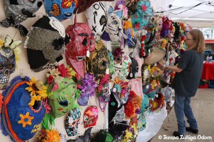Masks created by artists on sale at the Mercado