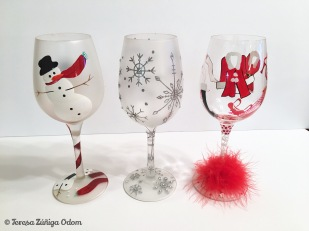 Three of my Christmas Lolita glasses - Frosty's Going Down, Silver Snowflake and Hot Mama Claus.