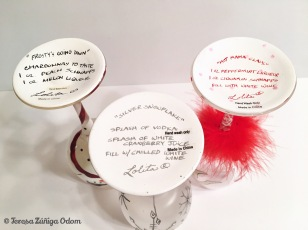 Recipes on the bottom of the Christmas glasses