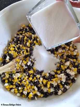 Lastly, mix in the sugar and toss well