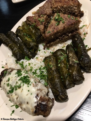 Kibbi, kefta and grape leaves