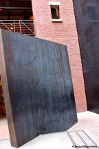 Richard Serra sculpture called - Gravity - is wedged into the staircase in the southwest forner of the Hall of Witness