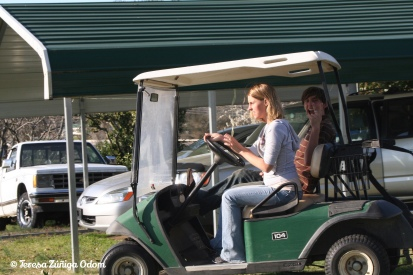 Kate and Charlie in the golf cart!