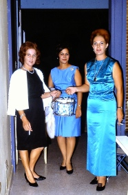 Mom's best friend, Gladys Seda is on the left with what I believe to be the off-white beaded sweater that I now have. Mom is on the right in her blue thai silk dress. This photo was taken at our house in Puerto Rico in the mid 1960s.