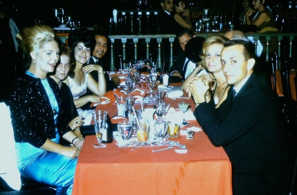 My mother is on the left wearing the black beaded sweater at a dinner party in Puerto Rico in the 1960s.