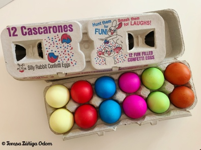 Cascarones in an egg carton - found at a local Walgreens in Hoover, AL