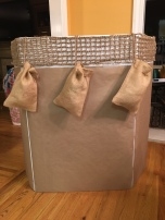 "Found burlap bags in the wedding section at Walmart to give the ""hot air balloon"" a special effect!"