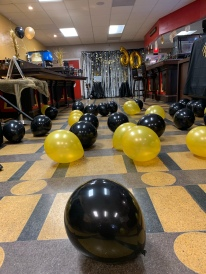 Dance floor ready with balloons!