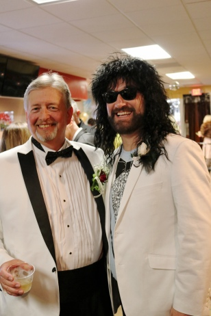These two guys stood out in their white tuxedo jackets!