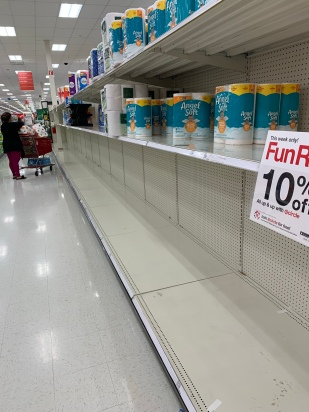 This was a photo I took at Target the week of March 17, I had been in Mexico for a wedding the week before and we kept hearing about people hoarding toilet paper and couldn't understand what the heck was going on!