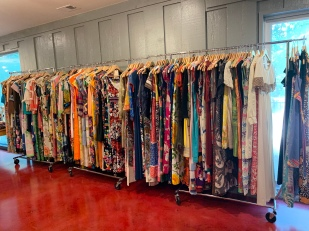 Racks and racks of vintage clothing at this sale!