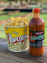 Popcorn with Valentina sauce - a Mexican favorite!