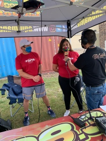 Board members, Dulce Rivera and Phil Sandoval are interviewed by La Jefa Radio Station about the movies in español