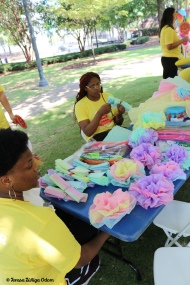 Tissue paper flowers were a fun activity in the Family Village - Fiesta 2019