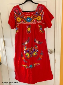 1970s Mexican Puebla Dress - Red