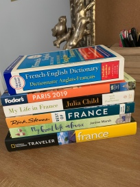 A pile of French themed books I planned to tackle in May 2020