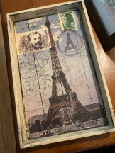 Paris/Eiffel Tower tray I found at a thrift store last fall. I've gotten a lot of use out of this!