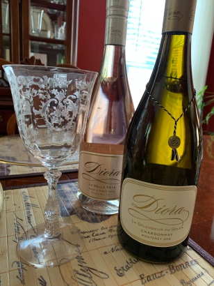 Fostoria wine glasses on my dining room table and Diora wine
