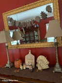 "Dining room buffet - the ""home"" garland was added this year to the mirror"