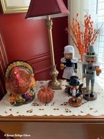 My teacart decor - the turkey was a great find at the thrift store. The nutcrackers are from Target in 2012.