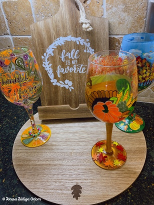 My final touch is always adding my Designs by Lolita wine glasses based on the holiday theme. These makes me happy!