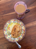 Croissant and coffee for breakfast - this is a chicken plate and a Designs by Lolita French themed coffee glass!