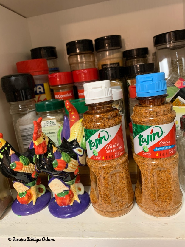 My spice cabinet featuring Tajín classic and low sodium