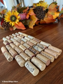 Line up the corks to make sure they are all about the same size
