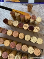 The wine stained corks really are pretty!