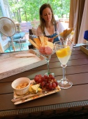 All set up outside with my friend Katy - French 75 and mini charcuterie plates