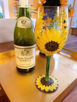 French wine and Lolita sunflower wine glass - reminded me of the Van Gogh sunflowers