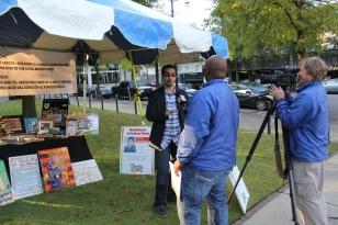 Board member Lui Fernandez talks to Jeh Jeh Pruitt of WBRC Fox about scholarships - Frank's poster is in the background